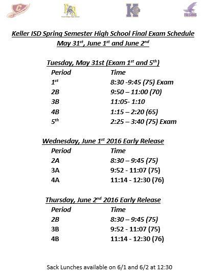 final exam schedule may june 2016