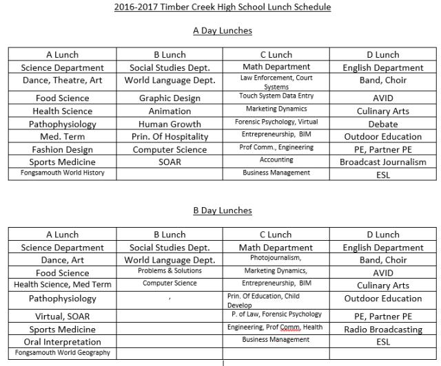 lunch schedule aug 23 update