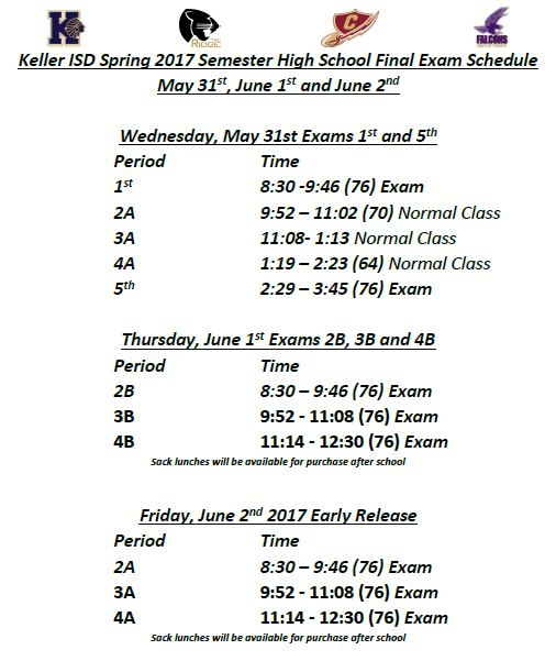 Kisd Releases Adjusted Spring 2017 Finals Schedule Timber Creek Talon
