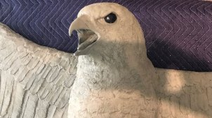Work in progress photos of the Falcon Statue.
