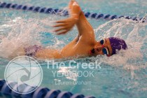 Photo from the Sept. 25 Swim and Dive Meet at the Keller Natatorium. (Photo by The Creek Yearbook Photographer Lauren Graham)