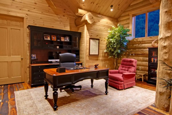 Designing Log Timber Home Include Office