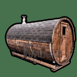 Fasssauna mit Holzofen oder mit elektrischer Heizung HARVIA