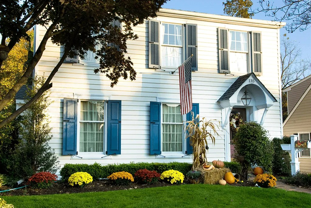 White Houses With Colored Shutters