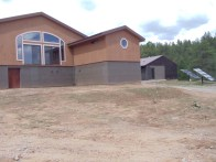 Angled front view of the house.