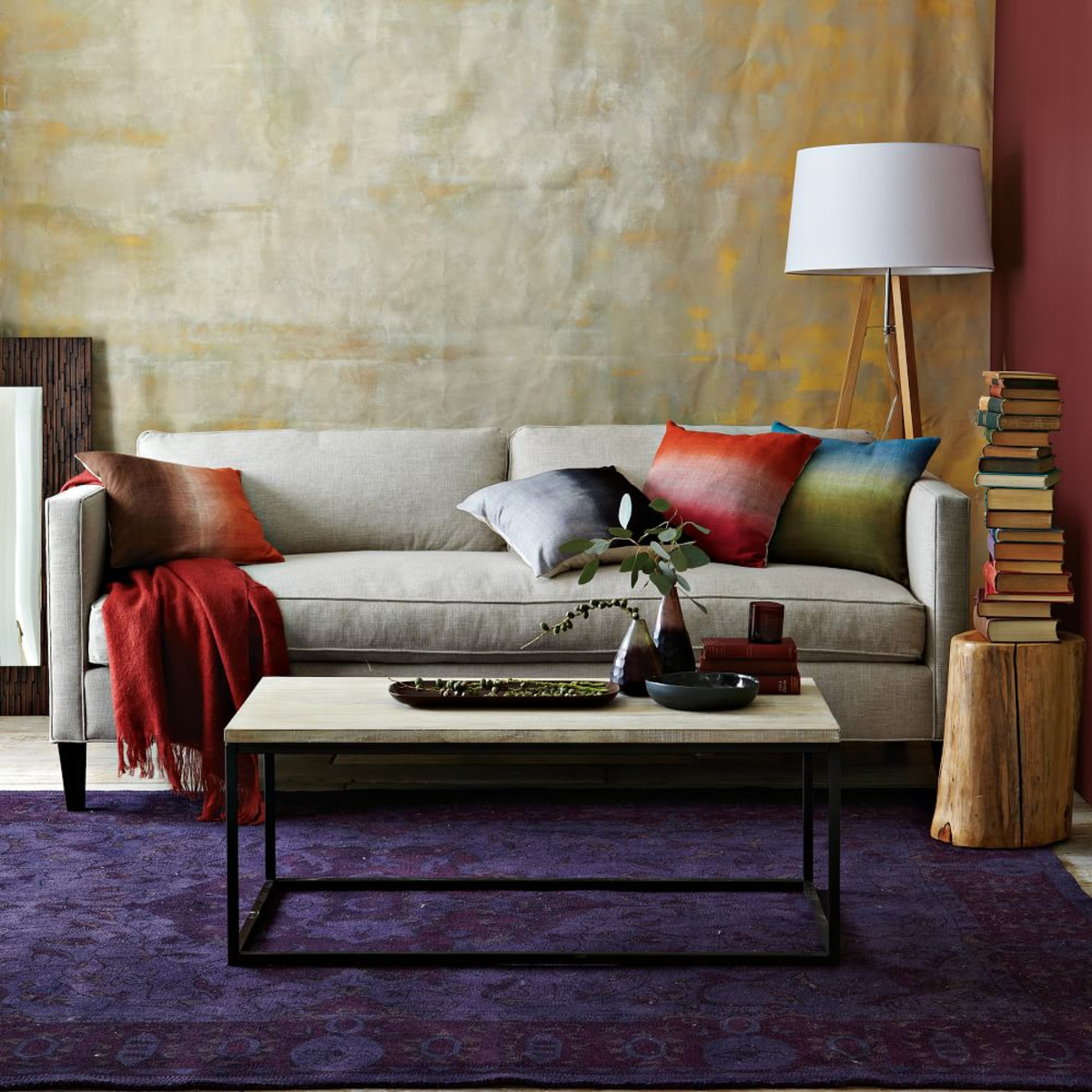 west elm dunham sofa reviews laybag air review question test tripod wood floor lamp timbers with veins