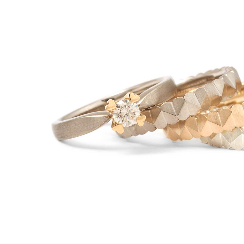 Verlobungsring - 750er Gold - champagnerfarbener Diamant in Herzfassung