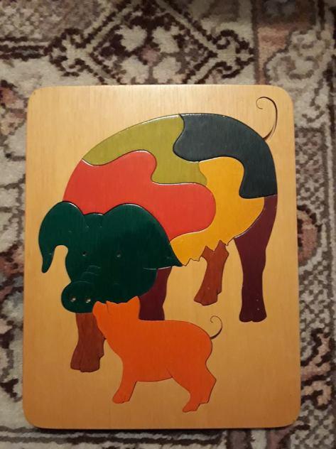 colourful wooden pig jigsaw