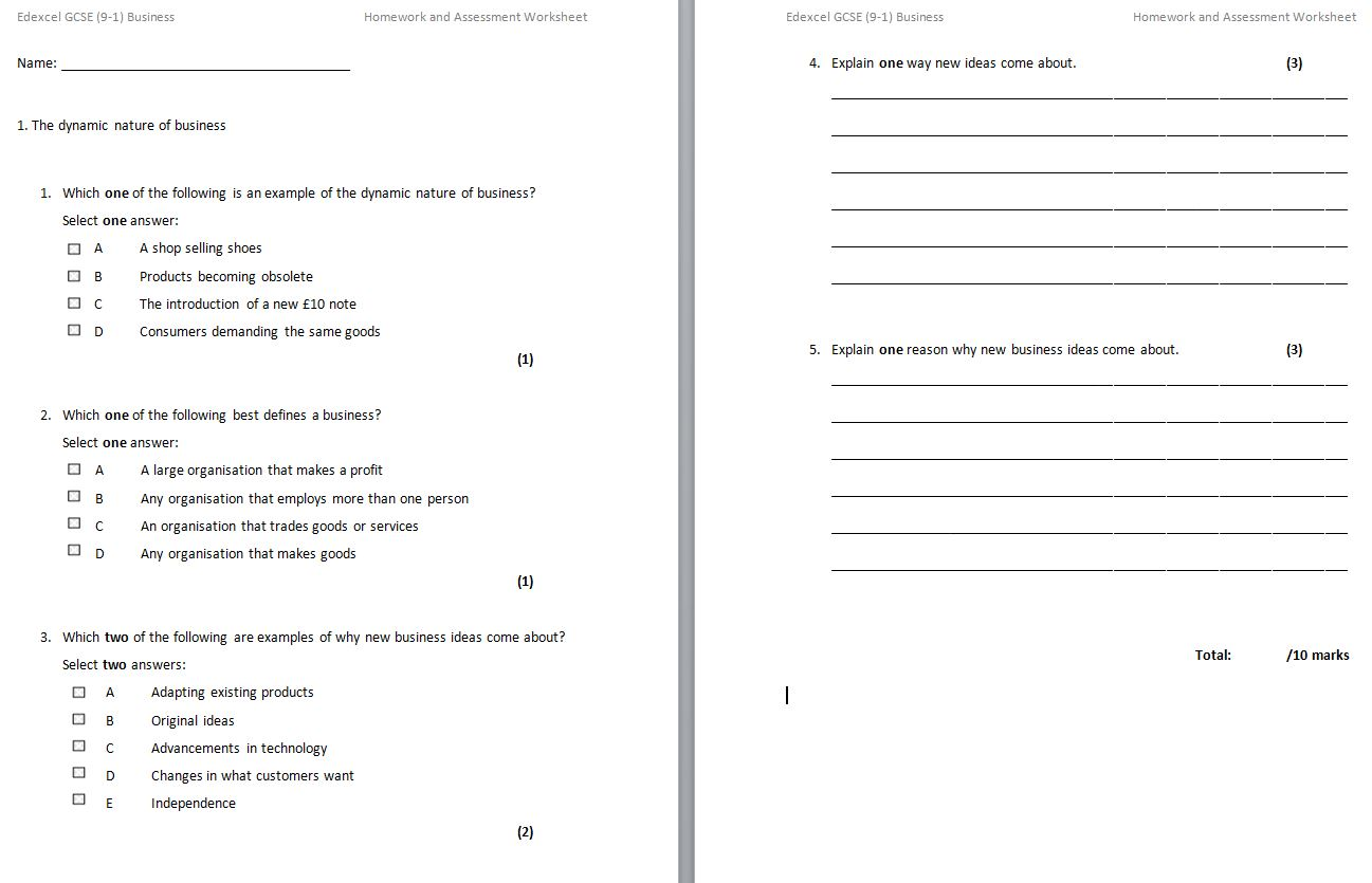 Gcse 9 1 Edexcel Business Homework And Assessment Worksheets