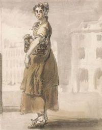 Jennifer Macaire as a farm girl, circa 1790