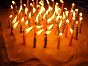 Flaming birthday cake