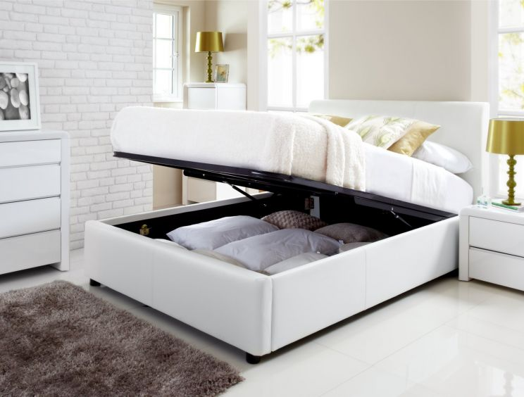 henley white leather ottoman storage bed