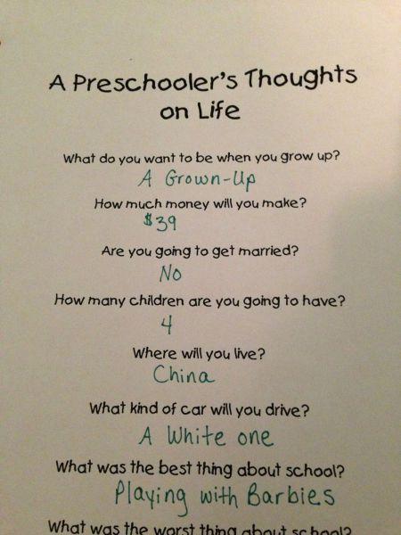 Preschooler's Message to the Future