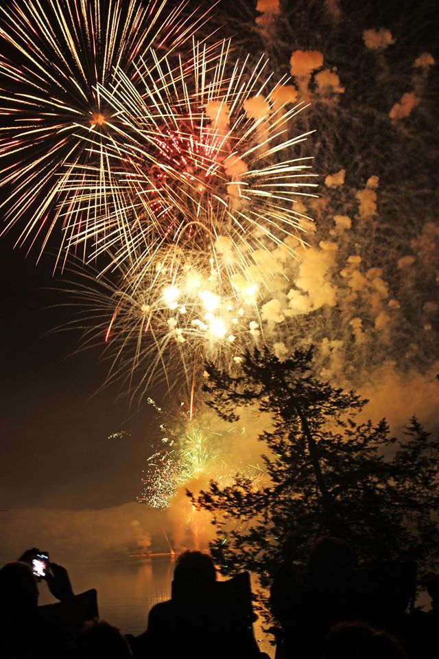 Fireworks over Bixler Lake in Kendallville Indiana