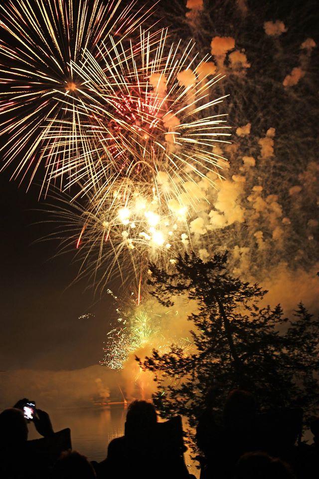Fireworks over Bixler Lake in Kendallville Indiana