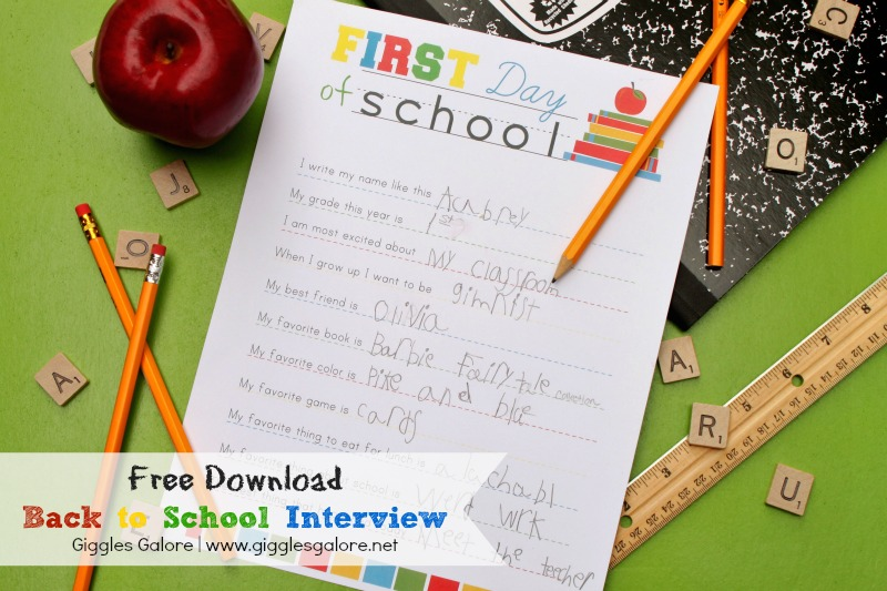 First Day of School Interview - FREE Download
