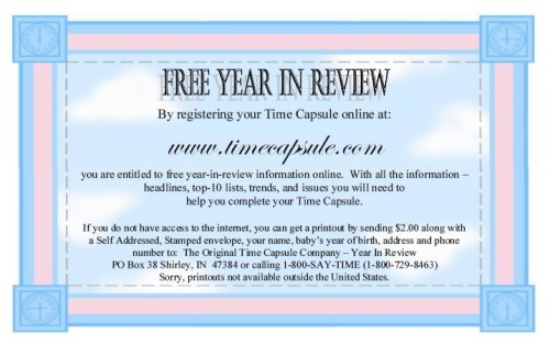 baby time capsule - Year in Review