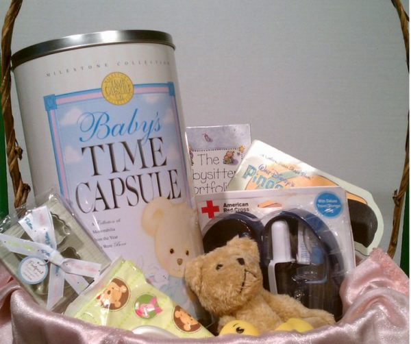 Creative Baby Gift Basket Ideas : Baby gift basket ideas time capsule company