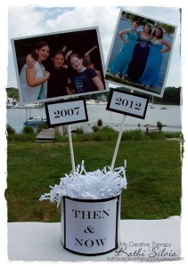 Graduation Party Ideas - Then and Now Table Displays