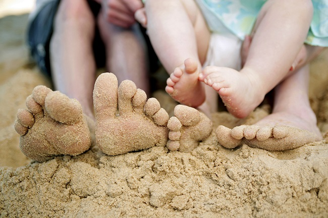 Home Time - Family Vacation Feet in Sand