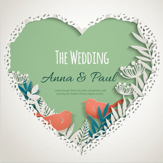 Wedding Invitations with Meaning - Heart with Love Birds