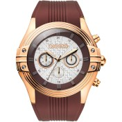 BREEZE Breeze City Sleek Chrono Brown Rubber Strap 2018