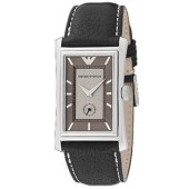 Emporio Armani Grey Dial Black Leather strap image
