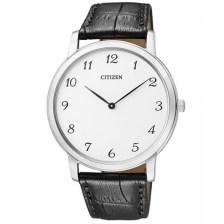 Citizen Eco-Drive Βlack Leather Strap White Dial