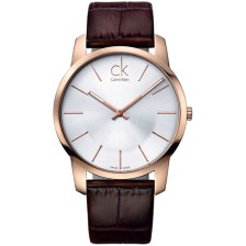 Calvin Klein City Rose Gold Brown Leather Strap