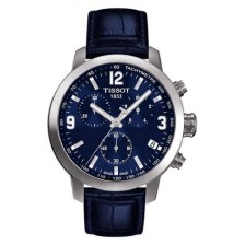 Tissot PRC 200 Chronograph Blue Dial Blue Leather Mens Watch