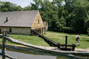 A re-creation of the grist mill and distillery at Mount Vernon, George Washington's home in Virginia. Washington relied on six slaves to help run his rye whiskey distillery, one of the largest on the East Coast.
