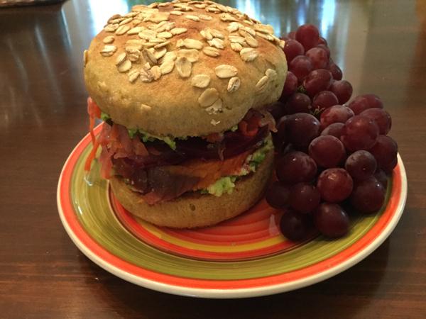 Rainbow Veggie Sandwich in Avocado Brioche Burger Bun