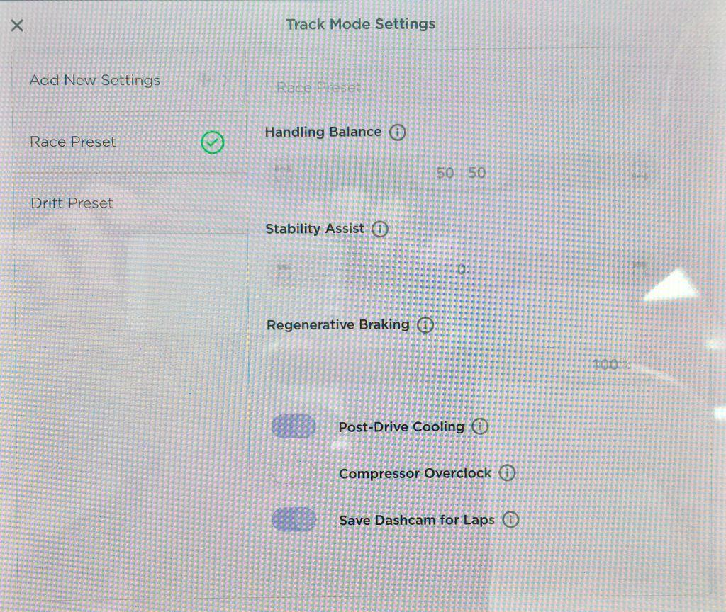 Track Mode Settings