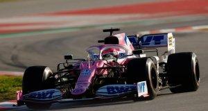 """""""Checo"""" Pérez pilotando el RP-20 en Montmeló (fuente: Twitter Racing Point F1)"""