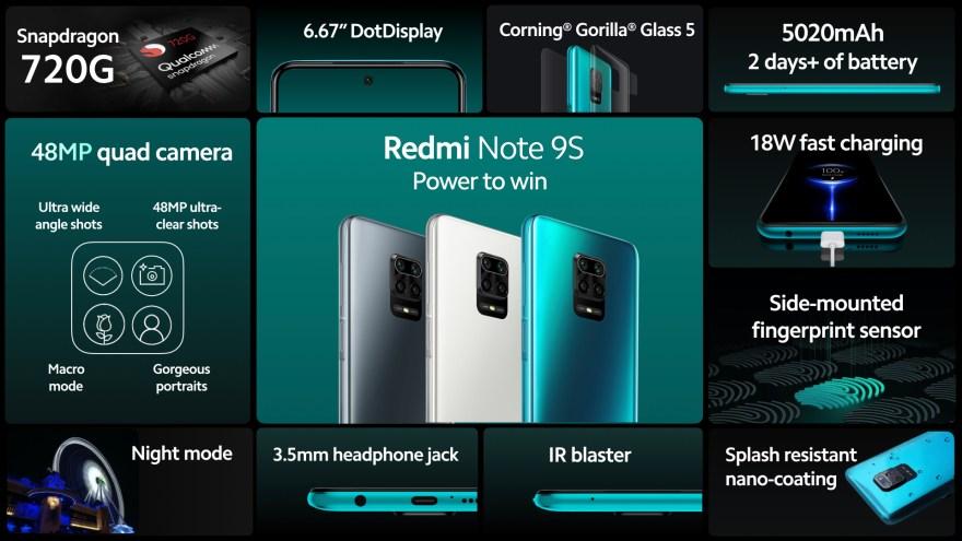 La características del nuevo Xiaomi Redmi Note 9s.