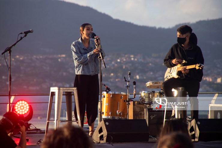 El grupo Tinta ayer en el Mar de Vigo en el Festival TerraCeo. Foto: Paula Cabaleiro