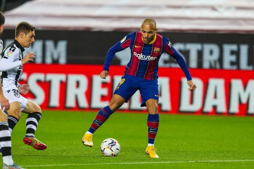 Braithwaite en el partido entre el Barça y el Levante