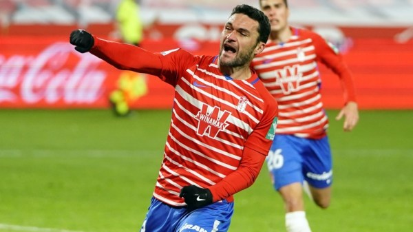 Molina celebrando el gol ante el Valencia