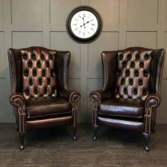 Oxblood Leather Wing Chair Antique Rocking Identification The Oakley Pair
