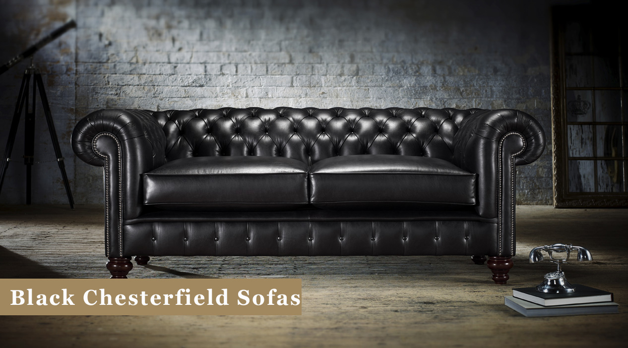 Black Chesterfield Sofas Leather  Fabric  Timeless