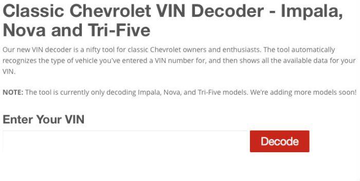 Chevy Vin Decoder