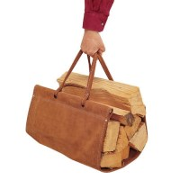 Pictured here is the brown Suede Fire Wood Carrier from