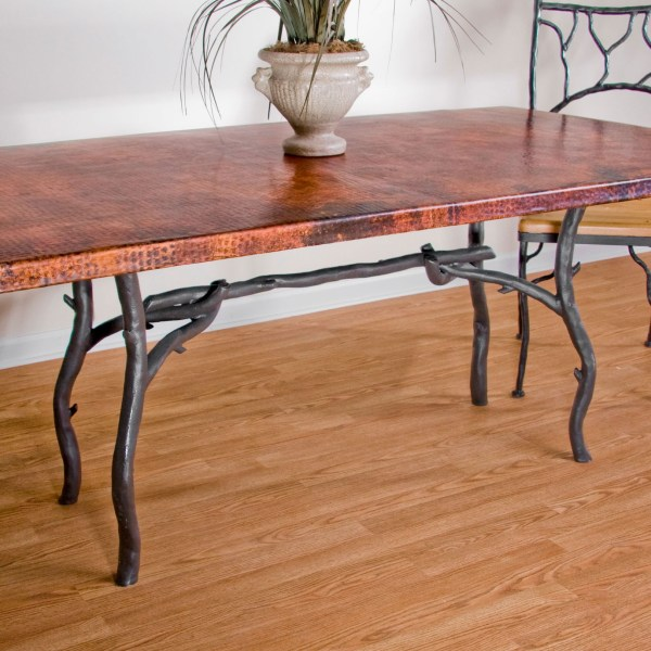 Wrought Iron Base Dining Table