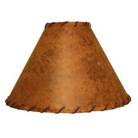 Rawhide Accent Lamp Shade w/Leather Trim 15""