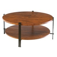 Wrought Iron Timber Round Cocktail Table by Charleston Forge