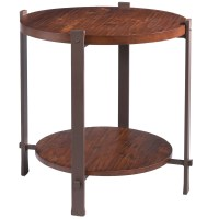 Pictured is the Wrought Iron Framed Timber Round End Table ...