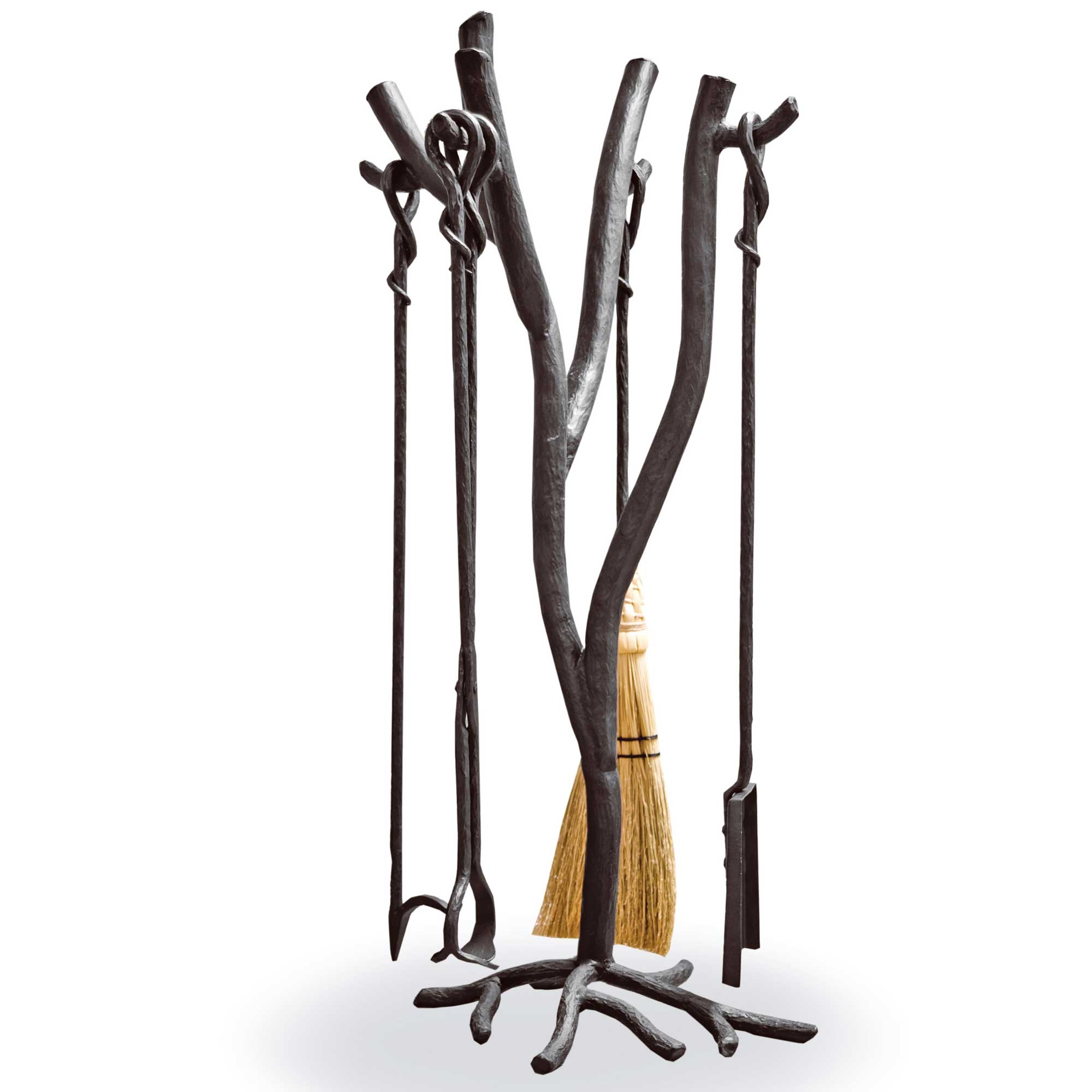 Wrought Iron South Fork 4Tool Fireplace Set with Natural