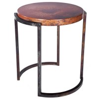 Upper Avenue Iron End Table with Copper Top