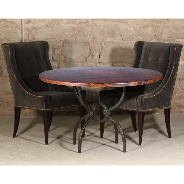 Round Copper Top Dining Table