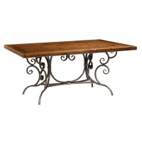 Dining Table: Wood Dining Table Wrought Iron Base